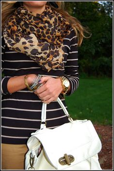 leopard scarf, striped 3/4 sleeve, tan pencil skirt