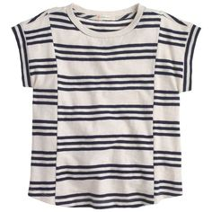 J.Crew Girls' panel striped tee ($35) ❤ liked on Polyvore featuring tops
