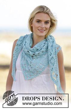 "Water Pearl - Crochet shawl with lace pattern in ""Alpaca"". ~ DROPS Design. Sport weight yarn."