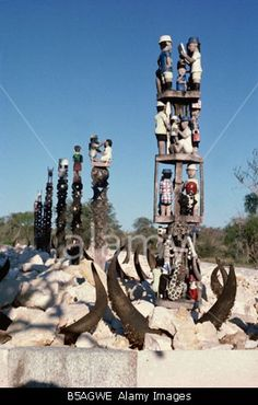 Memorial tomb of the Mahafaly tribe, Madagascar, Africa Stock Photo