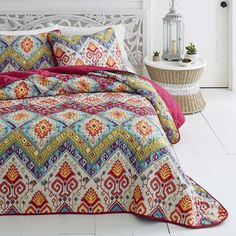 Cynthia Rowley Moroccan 3pc Queen Quilt Set New Medallion Full Pink Aqua Teal Moroccan