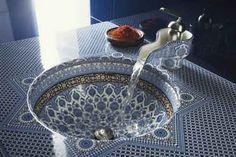 Blue mosiac tile sink