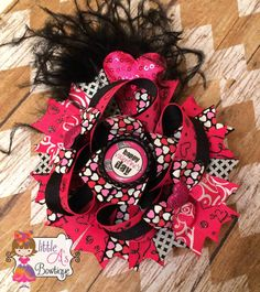 Just in time for Valentine's Day!  Ready to ship!!  #bow #valentinesday #vday #hairbow Happy Valentine's Day bow Valentine's Day OTT by LittleAsBowtique