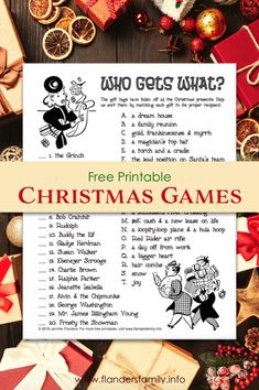 Who Gets What (Free Printable Christmas Party Game) - Flanders Family Homelife Funny Christmas Games, Printable Christmas Games, Christmas Activities, Christmas Traditions, Group Christmas Games, Xmas Games, Fun Games, Christmas On A Budget, What Is Christmas