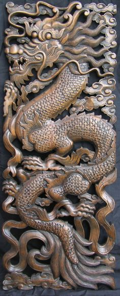 Teak panel with elaborate serpentine dragon carved into it Water Dragon, Sea Dragon, Fantasy Creatures, Mythical Creatures, Dragon Heart, Dragon Images, Katana, Celtic Art, Chinese Dragon