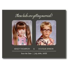 """Old photo save the dates with a unique charcoal gray design.  The text reads: """"These kids are getting married!"""". Upload an old school yearbook photo or a picture from an old photo album. Personalize the custom fields with your own save the date wording. Preview exactly what the finished save the date will look like on screen before you order"""