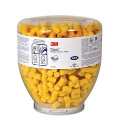 3M Single Use Classic One Touch Cylinder Shape PVC Foam Uncorded Earplugs (500 Pair Per One Touch Refill Bottle)