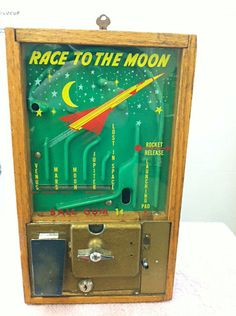 "1950s Victor brand ""Race to The Moon"" coin-op gumball game and dispenser."
