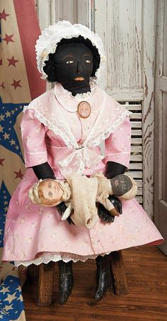 The doll(s) she's holding. The Blackler Collection (Part 2 of set): 22 American Black Cloth Folk Doll in Original Costume Black Queen, Antique Dolls, Vintage Dolls, African American Dolls, Black Wig, Doll Head, Doll Furniture, Art Dolls, Doll Clothes
