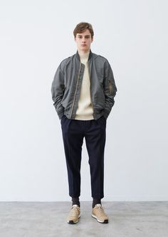 Perfect silhouette, this is probably how I will be dressing this fall. A clean pair of sneakers teamed up with a classic MA-1 bomber, cropped pants, thick crumpled socks and a pair of runners. Don't forget the chunky knit. All by Markaware for Fall '15/16.