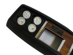 """1969 Console with round gauges (Change out wooden plate with black) Can put """"SS"""" decal or """"Camaro"""" decal on black plate instead of shift gear map. 67 Camaro, Custom Consoles, Wooden Plates, Gauges, Manual, Ss, Decal, Packaging, Change"""