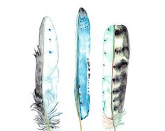 Aquarell Federn Natur Illustration blaue Indigo von WinterOwls
