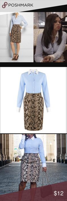 """Altuzarra pin striped and python dress Long sleeved dress with python bottom and long sleeve light blue pin stripe top with white collar. Seen on """"cookie Lyon"""" in TV show Empire. Brand new with tags. Altuzarra Dresses Long Sleeve"""