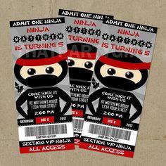 Ninja Warrior Invitations, Ninja Warrior Party, Ninja Birthday ...