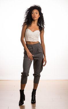 Victoria Kristine, BlasianGurl, Grey Pleats, Topshop, Toronto, Toronto Fashion Blogger, Style Blogger, Bralet, Trousers, Sock Boots