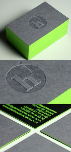 These striking cards have been printed via the letterpress technique on very thick duplexed card stock, made up to be 700gsm. The deeply debossed logo is all that is needed on the front of the card to make an impact. On the back the business details have been printed in bright lime green foil which can't fail to stand out from the charcoal grey card. The same lime green foil has been used on the card edges as a spectacular finishing touch.