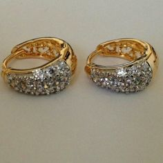 Earrings. Lovely design white crystal cubic zirconia hoop earrings with 18k gold plated jewelry. No Trade. No Hold. No PayPal. Jewelry Earrings