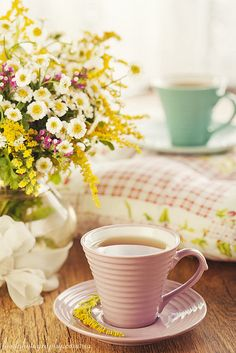 Flowers and tea. What more could you want to bring a warm smile to your face and heart?