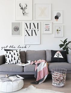 Incorporate soft feminine woodlands elements with beautiful pink, grey and black in a living room. We show you how to get the look!