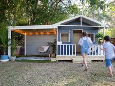 When renovating, how do you avoid falling for trends to create a unique look? Take cues from this young pair, who have recreated Hamptons style at home. Kids Cubby Houses, Kids Cubbies, Play Houses, Backyard Playground, Backyard For Kids, Playhouse Plans, Cedar Playhouse, Wendy House, Home Landscaping
