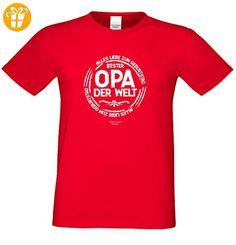 Geburtstagsgeschenk Opa Großvater :-: Motiv Kurzarm T-Shirt mit Geburtstagsaufdruck :-: Bester Opa der Welt :-: auch in Übergrößen 3XL 4XL 5XL :-: Farbe: rot Gr: L (*Partner-Link)