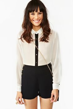 Beaded Tux Blouse