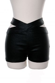 Generation X Black High Waist Faux Leather Shimmer Shorts