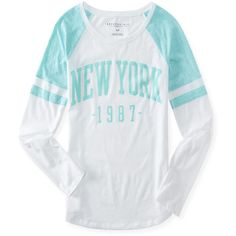 Aeropostale New York Mesh Print Raglan Tee (200 UAH) ❤ liked on Polyvore featuring shirts, cozy and aéropostale