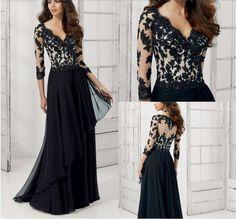 a78b72f6e213 2017 Elegant Black Evening Dress V neck 3 4Sleeves Lace Appliques vestidos  de festa largos Formal Evening Party Gowns Plus Size-in Evening Dresses  from ...