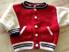 Baby Baseball jacket retro americana in pint by GingersGotKnits, $40.00