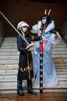 Trafalgar Law and Caesar Clown cosplay. This is a really cool cosplay :0