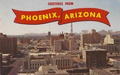 from Vintage Phoenix: On the left is 1st Avenue and along the bottom is Washington Street, looking north (1950s)