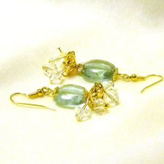 Beaded Earrings Mint Green with Clear Bead Cluster by marilyn1545, $10.00