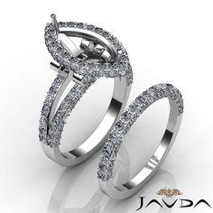 Diamond Engagement Ring Marquise Split Shank Bridal Setting 18K Gold White 2 8ct   eBay