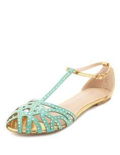 caged velvet sparkle t-strap sandal