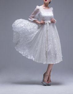 lace dress white dress midi dress prom dress by KustomizedFashion, $145.99