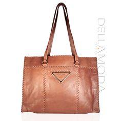 Prada handbag large leather shopper bag Brown Bruciato BR3183 (PR596)