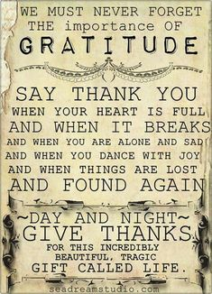 An attitude of gratitude makes all the difference.