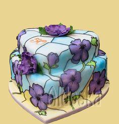 Inspired by Tashastasytreats cake. Thanks! :-) vitral cake. beautiful painted wedding cake!