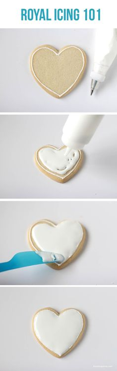 "Icing Royal icing 101 on .learn the basics to creating ""fancy"" cookies!Royal icing 101 on .learn the basics to creating ""fancy"" cookies! Fancy Cookies, Iced Cookies, Cookies Et Biscuits, Cupcake Cookies, Baking Cookies, Heart Cookies, Baking Cupcakes, Cream Cookies, Frosting Recipes"