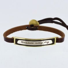 Treasure Every Day Leather Adjustable Bracelet