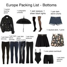"""""""Europe Packing List- Bottoms (mostly))"""" by ehale001 on Polyvore"""