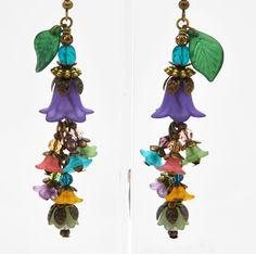 Gorgeous Cluster Purple Pink Lucite Flower Blue Czech Glass Green Leaf Earrings in | eBay