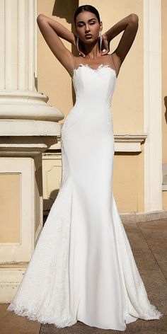 Attractive Chiffon & Lace Jewel Neckline Mermaid Wedding Dress With Lace Appliques