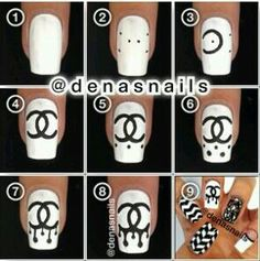 Dripping Chanel emblem nail art tutorial / looks super cute on white nails and do in pastel colours without the drips!