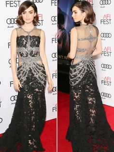 Lily Collins in Reem Acra