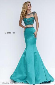 32364 Sherri Hill. Sherri Hill prom. Prom 2016. Sherri Hill designs 2016. long blue prom dress. mermaid style prom dress.