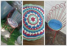 Crochet - Practising a granny mandala became a cushion for the old iron chair.