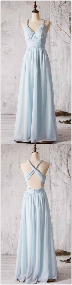 Sky Blue Bridesmaid Dress,Chiffon Bridesmaid Dress,Cheap Bridesmaid Dress,A Line Bridesmaid Dress,Open Back Prom Dress,A line Chiffon Party Dress,P1157 #bridesmaiddresses