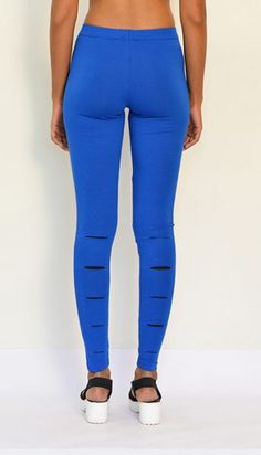 """""""Calf Slilted"""" Cotton & Lycra Leggings- Ankle Length. Get Now : https://www.estrolo.com/product-category/women/leggings/ #Leggings #BlueLeggings #EstroloFashion"""